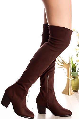 FOREVER LINK SUEDE MATERIAL SIDE ZIPPER ROUND TOE OVER THE KNEE CHUNKY HIGH HEEL BOOTS Brown-ridge-36 TQdvXg