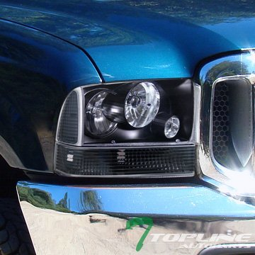 Topline Autopart Black Clear Lens Signal Bumper Corner Light Lamp K2 99/00-04 Ford F250 - Lights Tips Clear 350