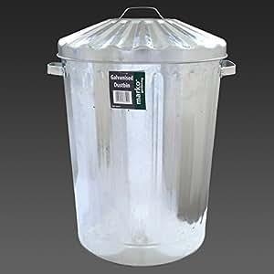 Tamaño grande 90L de Metal galvanizado cubo de basura desagüe alimentación Animal de almacenamiento litros
