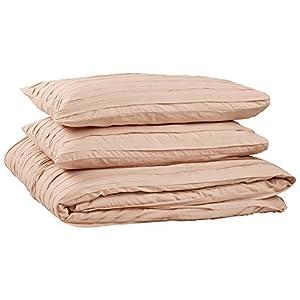 Rivet Raw-Edge Cotton Duvet Cover Set, King, Blush Pink