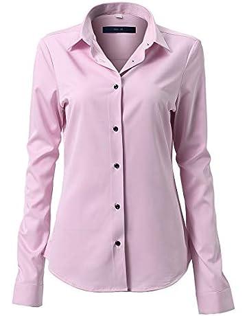 748818b453ec12 HARRMS Damen Hemd Bluse Langarm Shirts Elegant für Blazer Büro Business  Slim Fit Bambusfaser Basic Retro