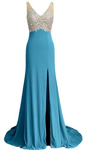 da V cristallo a lunghe Sirena sera maniche formale Abito Scollo ball Donna Turquoise MACloth Gown qwAfBvx