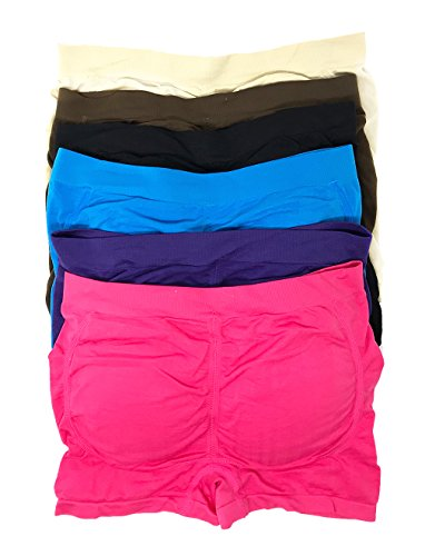 Peachy Panty Women's Pack of 6 Padded Briefs Butt Lifter Padded Panty - Enhancing for Women (Padded Boyshorts Color 1, One Size)