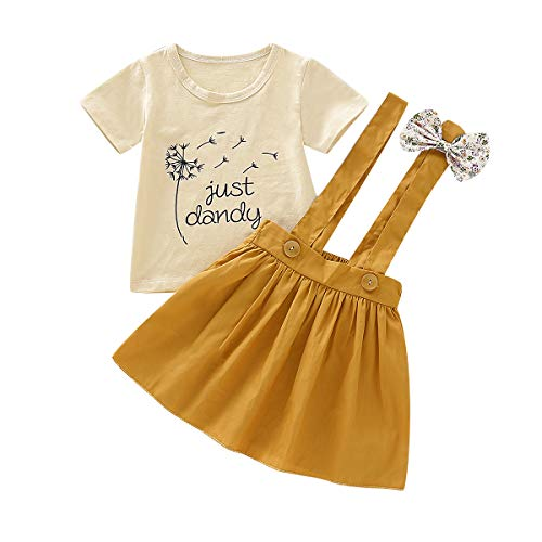Toddler Girls Outfits 2pcs Baby Romper Clothes Set Girl Floral Jumpsuit+Strap Skirt Outfits (Beige, 3-4 T) -
