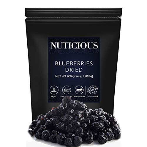 NUTICIOUS Natural Dried Whole Blueberries-900 ge (Gourmet Food Premium Quality)