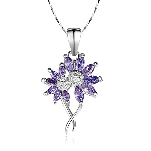 Merthus 925 Sterling Silver Created Amethyst Flower Pendant Necklace for Women