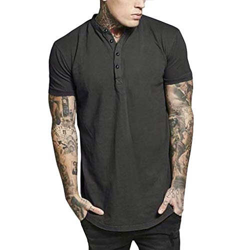 2019 New Slim Fit Tops, vermers Men's Summer Casual Silm Fit Button Short Sleeved T-Shirt - Shirt for Running Black
