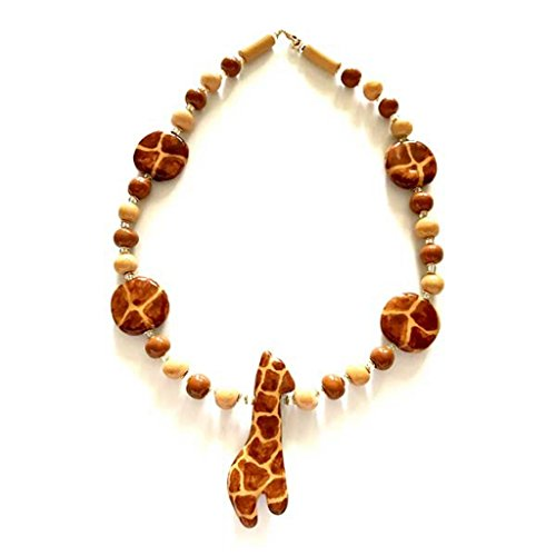 Necklace - 18'' Handmade Beads Giraffe Necklace in brown. - 18' Ceramic