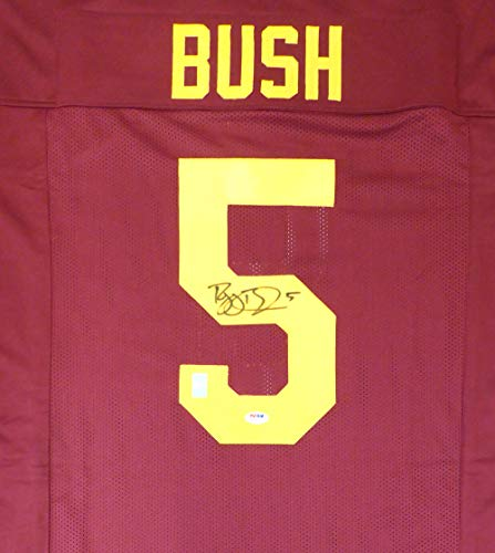 USC TROJANS REGGIE BUSH AUTOGRAPHED RED JERSEY PSA/DNA STOCK #132390