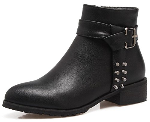 Easemax Women's Comfy Round Toe Chunky Low Heeled Side Zipper Short Ankle High Boots Black sKeubd