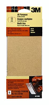 3M 9215NA 3-2/3-Inch by 9-Inch Power Sanding Sheets, Fine Grit, 6-pack