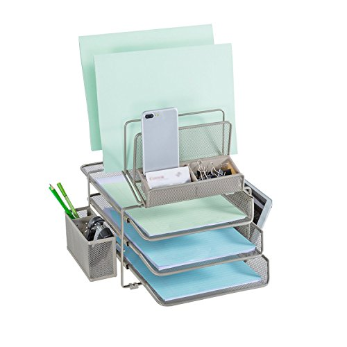 (DESIGNA Desk Organizer with 4 File Holders 3 Sliding Letter Trays 2 Side Compartments, Desktop Storage with Pencil Holder and Non-Slip pad, Champagne)