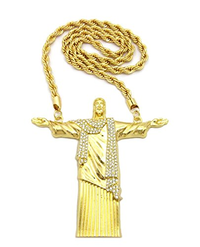 (Fashion 21 Hip Hop Big Size Iced Out Open Arm Whole Body Jesus Pendant 30