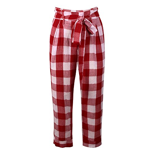 2019 Women's Pants,Sexy High Waist Lattice Casual Trousers with Bow Tie Belt and Pocket by-NEWONESUN Red