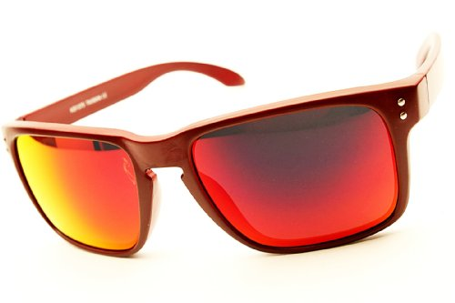 Wayfarer Sports Style Sunglasses w/ Gray Pouch W63 W634 (mt red-red lens, mirrored)