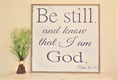 Be Still and Know that I am God Sign Wooden painted wall art Bible Scripture Wood Sign 2'x2' Psalm 46 by Leap of Faith Sign Shop