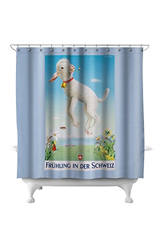 Fruhling in der Schweiz Vintage Poster (artist: Brun) Switzerland (71x74 Polyester Shower Curtain) (In Der Hook)