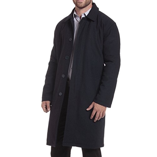 alpine swiss Zach Mens Wool Trench Coat Knee Length Overcoat Navy Med
