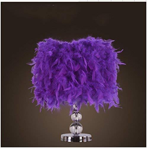 HhGold Moderne Einfache Kreative Warme Wohnzimmer Schlafzimmer Beleuchtung Beleuchtung Hochzeit Nachttischlampe Kristall Feder Tischlampe (Farbe: Rosa) (Farbe : Lila, Größe : -)