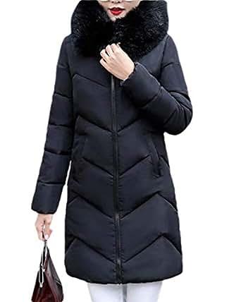 Women's Thickened Down Jackets Hooded Long Down Jacket Winter Outwear Puffer Coat Black XS