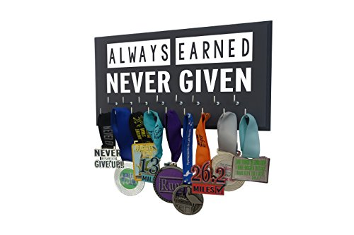(Running On The Wall - Race Medal Display - Inspirational Quote - Wall Mounted Sports Medal Holder and Hanger for 5Ks,10Ks, Marathons, Triathlons and)