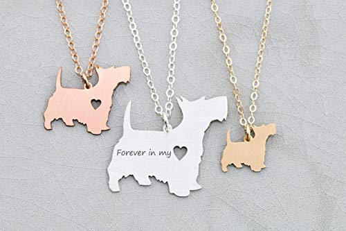 Scottie Dog Necklace - IBD - Scottish Terrier - Personalize Name Date - Pendant Size Options - 935 Sterling Silver 14K Rose Gold Filled Charm - Fast 1 Day - Scottie Dog Charm Silver Sterling