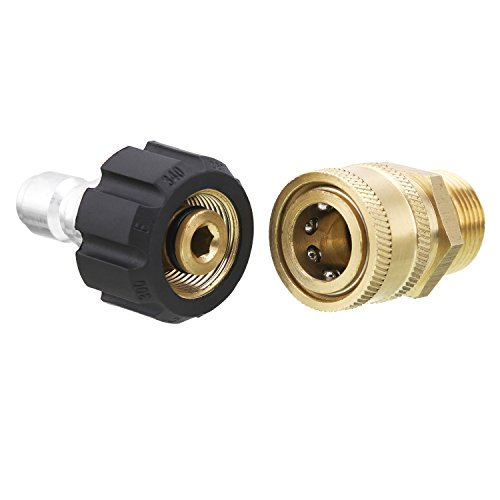 BLACK RIDGE Pressure Washer Adapter Set, Quick Connect Kit, M22 15mm Fitting, Compatible Sun Joe