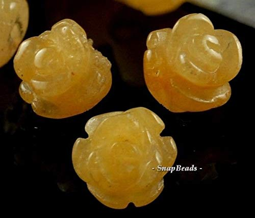 9X8MM Honey Jade Gemstone Yellow Carved Rose Flower 9X8MM Loose Beads 10 Beads