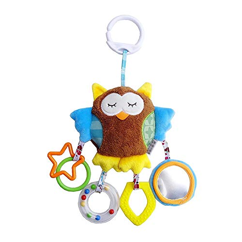QETU Cute Animals Stroller Bed Around Hanging Bell Rattle Activity Soft Toys Sleep Well Tool Car Seat Toys,#3 (Rattle Pal)