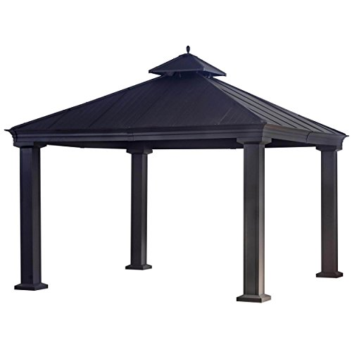 Top Black Hard (Sunjoy 12' x 12' Royal Hard-Top Black Gazebo Adds A Shaded Oasis To Your Backyard)