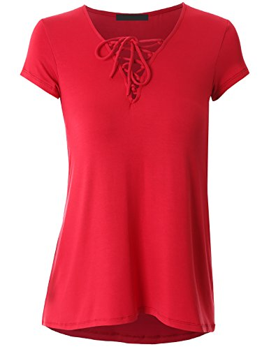 Govc Women Casual Bandage V Neck Short Sleeve Plus Size T-Shirts Summer Tops Tees(Red,L)