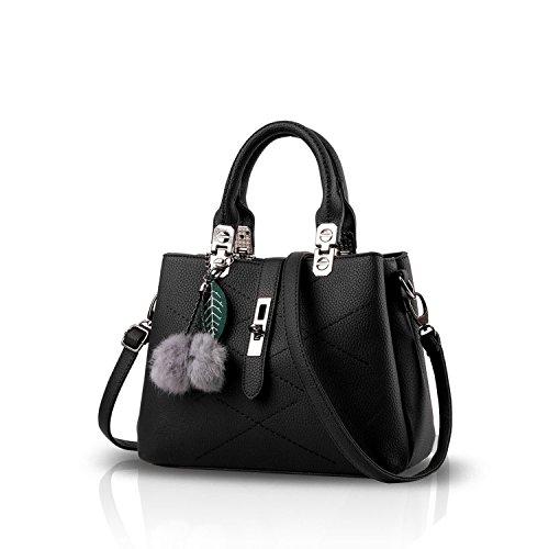 Cross Handle Bow Designer body Best Handbags Women Black Vintage 1 For The Handbag with Bag Ladies Leather dwYA8xqPX