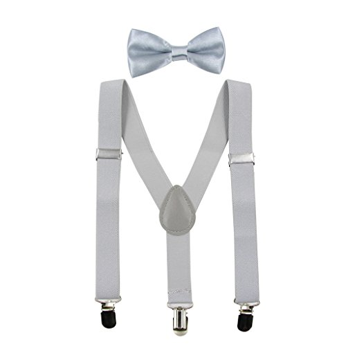 Hanerdun Kids Suspender Bowtie Sets Adjustable Suspender With Bow Ties Gift Idea For Boys And Girls, Light Gray, One Size ()