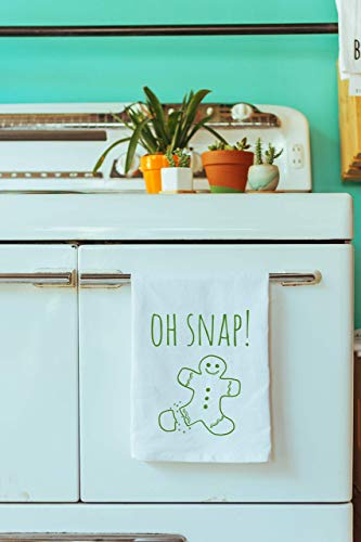 Funny Holiday Kitchen Cloth ~ Funny Dish Towel ~ Oh Snap! Gingerbread Man Tea ()