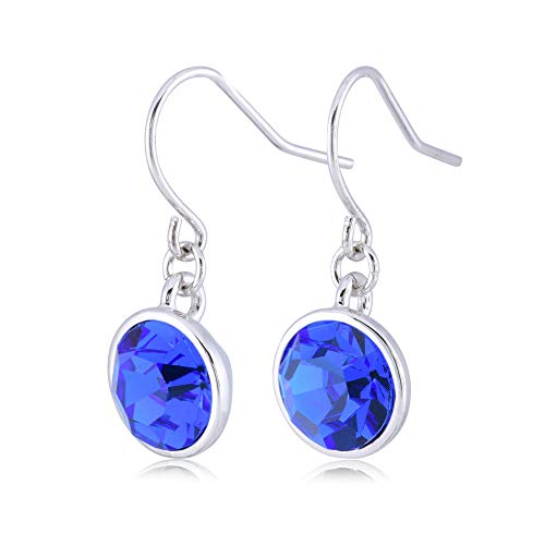 UPSERA Royal Blue Drop Dangle Earrings for Women Girls Crystals from Swarovski Silver Tone Plated Earrings Jewelry Blue Sapphire Crystal Earrings