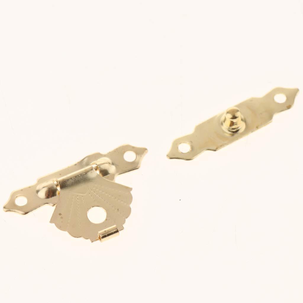Fenteer 12pcs Kleine Schatullenverschlu/ß Schatullenschlo/ß Truhenverschluss Kastenverschluss f/ür Holzkisten Gelb