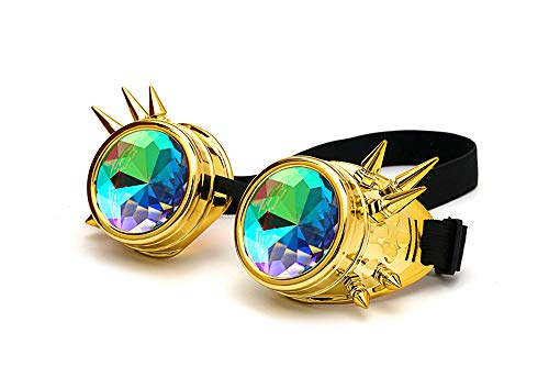DPLUS Motorcycle Goggles Kaleidoscope Rave Rainbow Crystal Lenses Vintage Goggles Glasses for Men Women Kids Youth Adult (Gold)