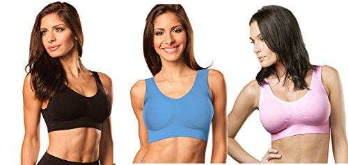 Genie Bra (3 Pack Womens Seamless, Wireless Bra, As Seen On TV, with Removable Pads for Extra Lift (Black/Powder Blue/Barely Pink, 3X)
