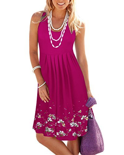 KILIG Summer Casual Loose Print Pleated Sleeveless Vest Dresses(Rose, M) by KILIG