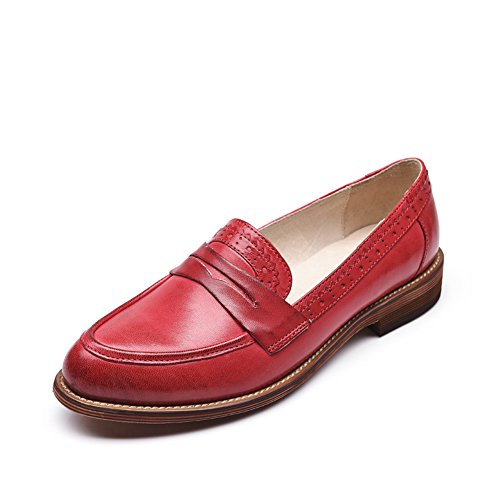 Red Brogue Carving Leather Honeystore Women's Flats Penny Loafer Retro Shoes qHBEzwT