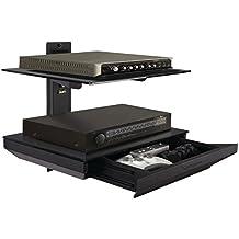 Atlantic 38435891 Two Tier AV Component Shelf with Drawer, Black