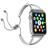Brione Compatible for Apple Watch Band 38mm 40mm Adjustable Stainless Steel Pendant Tassel for iWatch Bracelet Bands Series 4 3 2 1 Replacement Wristbands Strap Bangle Cuff for Women Girls Silver