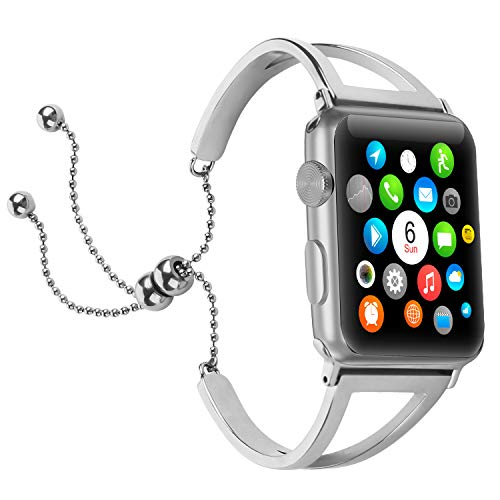 Brione Compatible for Apple Watch Band 42mm 44mm, Adjustable Stainless Steel Pendant Tassel for iWatch Bracelet Bands Series 4 3 2 1 Replacement Wristbands Strap Bangle Cuff for Women Girls - Silver