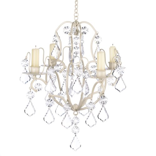 Shabby Chic Decor - Gifts & Decor Ivory Baroque Candle Chandelier, Iron and Acrylic