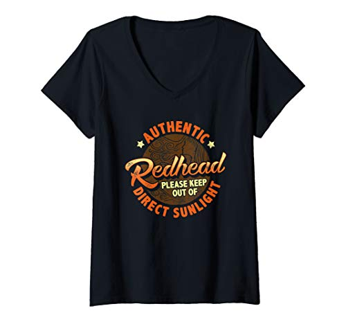 Womens Authentic Redhead Please Keep Out of Direct Sunlight V-Neck T-Shirt