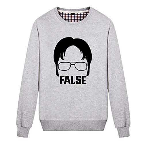 (Fashion Night Unisex Dwight False TV Show Sweatshirt (Grey)