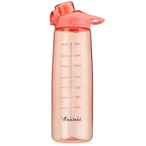 Bonison 34 OZ Wide Mouth Sports Water Bottle Flip Top Lid with Handle, Leak Proof, Bpa Free, Various Capacity. Perfect for Travel Yoga Running Outdoor Cycling Hiking Or Camping. Pink