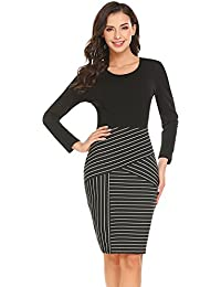 Women's Long Sleeve Voguish Striped Print Work Cocktail Party Pencil Dress