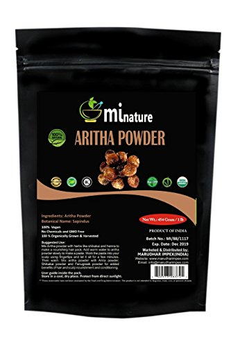 mi nature Organic USDA CERTIFIED Aritha Powder/Soap nut Powder(SAPINDUS MUKOROSSI) FOR SILKY HAIRS / 100% Pure, Natural and Organic - (454g / (1 lb) / 16 ounces) - Resealable Zip Lock Pouch