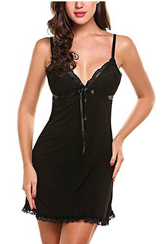 Delle Sexy Camicia Notte Pizzo Donne Minetom Babydoll Pigiameria Comoda Vestito Moda Nero Da Morbida Biancheria Donna xTqSxpFwYO
